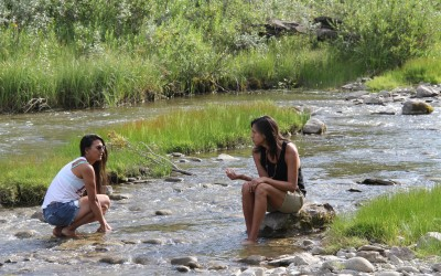 Beric chats with Lace on River in Tsuu T'ina